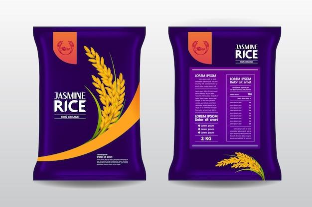 Belle illustration de l'emballage du produit de riz
