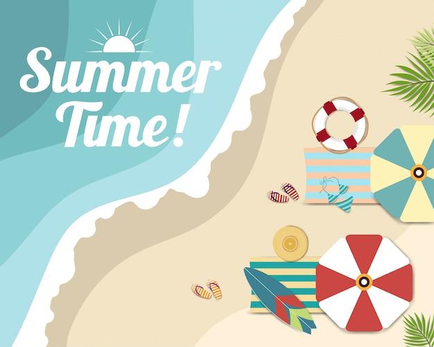 Belle illustration de l'heure d'été, vue de dessus de la plage et de la mer
