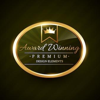Belle illustration d'insigne d'étiquette d'or gagnant du prix