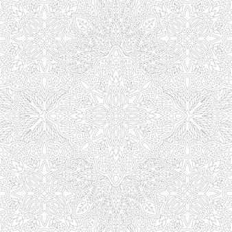 Belle illustration linéaire monochrome pour cahier de coloriage avec motif floral vintage carré abstrait