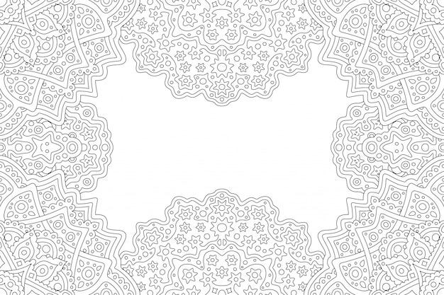 Belle illustration linéaire monochrome pour livre de coloriage adulte avec bordure rectangle fantaisie abstraite et espace copie blanche