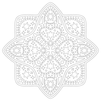Belle illustration linéaire monochrome pour la page du livre de coloriage avec un motif étoilé abstrait isolé et des formes de coeur