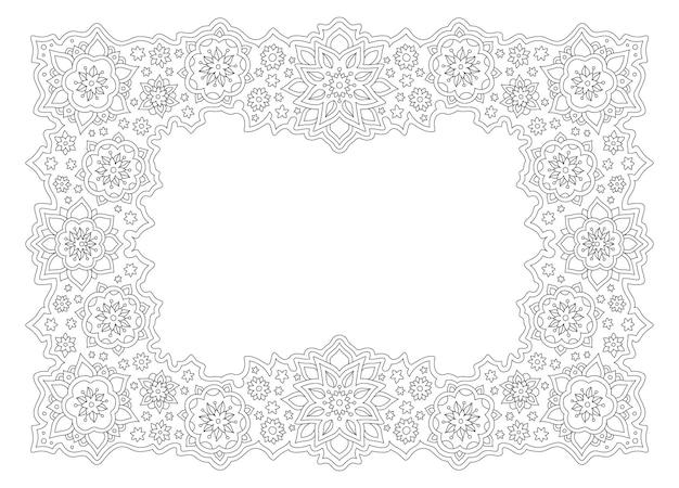 Belle illustration linéaire monochrome pour la page de livre de coloriage pour adultes avec cadre floral abstrait isolé sur fond blanc