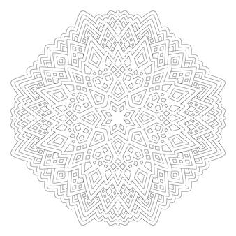 Belle illustration linéaire monochrome pour la page de livre de coloriage pour adultes avec motif géométrique abstrait isolé sur fond blanc