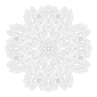 Belle illustration linéaire monochrome pour la page de livre de coloriage avec vintage abstrait unique isolé sur fond blanc