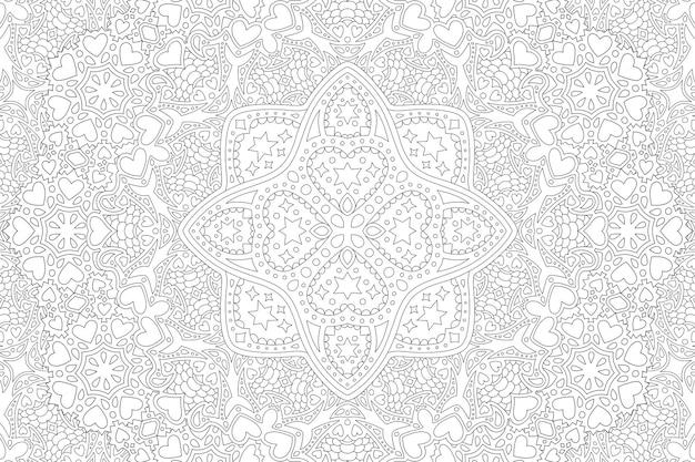 Belle illustration linéaire vectorielle monochrome pour livre de coloriage adulte avec des formes de coeur et des étoiles