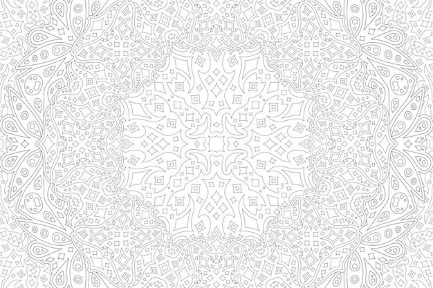 Belle illustration linéaire vectorielle monochrome pour la page de livre de coloriage pour adultes avec un motif étoilé détaillé noir abstrait sur fond blanc
