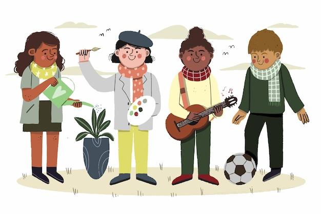 Belle illustration des loisirs d'enfants d'automne