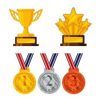 Belle Illustration De Médaille Et Trophée Vecteur Premium