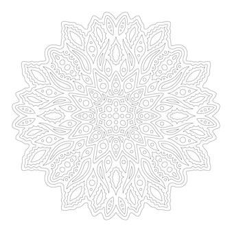 Belle illustration monochrome linéaire pour la page de livre de coloriage adulte