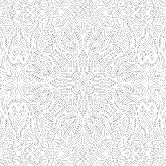 Belle illustration monochrome linéaire tribale pour la page de livre de coloriage adulte