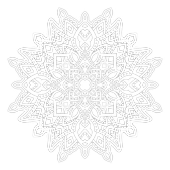 Belle illustration monochrome pour la page de livre de coloriage adulte avec motif abstrait linéaire isolé sur fond blanc