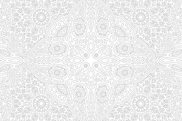 Belle illustration en noir et blanc pour livre de coloriage adulte