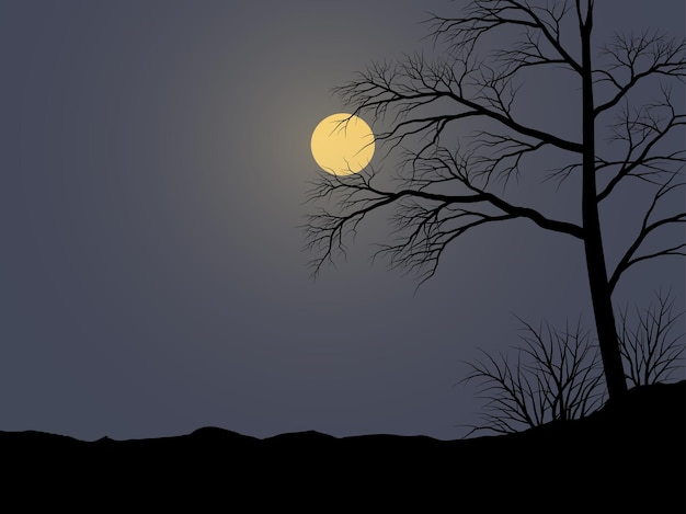 Belle illustration de nuit avec arbre au clair de lune
