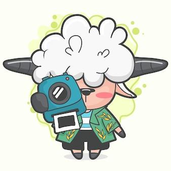 Belle illustration de petit mouton photographiant