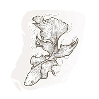 Belle illustration de poisson betta