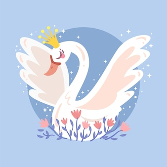 Belle illustration de la princesse cygne blanc
