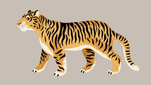 Belle illustration de tigre isolée sur fond beige