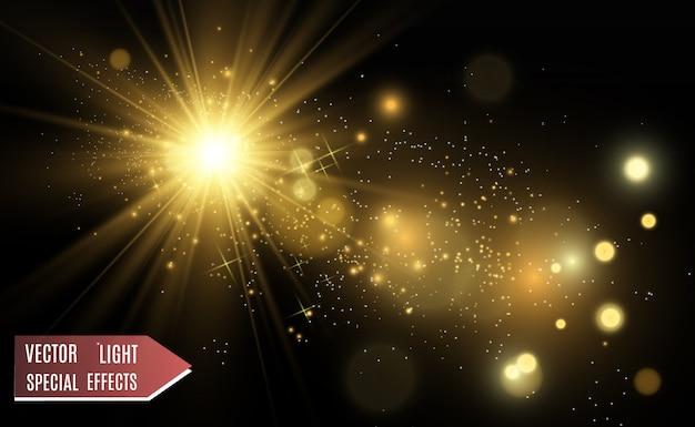 Belle illustration vectorielle dorée d'une étoile sur un fond translucide avec de la poussière d'or et des paillettes.