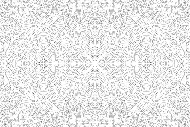 Belle illustration vectorielle linéaire monochrome pour livre de coloriage adulte avec motif détaillé abstrait sur fond blanc