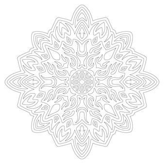 Belle illustration vectorielle linéaire monochrome pour la page de livre de coloriage avec motif vintage abstrait isolé sur fond blanc