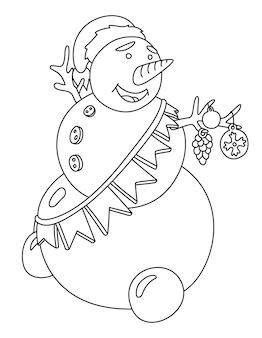 Belle illustration vectorielle linéaire monochrome pour la page de livre de coloriage de noël avec bonhomme de neige de dessin animé isolé sur fond blanc