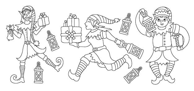Belle illustration vectorielle linéaire monochrome pour la page de livre de coloriage de noël avec des elfes de drôle de bande dessinée isolés sur fond blanc