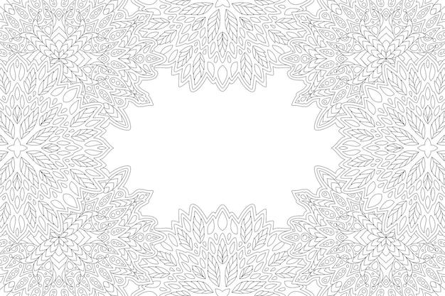 Belle illustration vectorielle linéaire monochrome pour la page de livre de coloriage pour adultes avec bordure florale rectangle abstrait et espace copie blanc