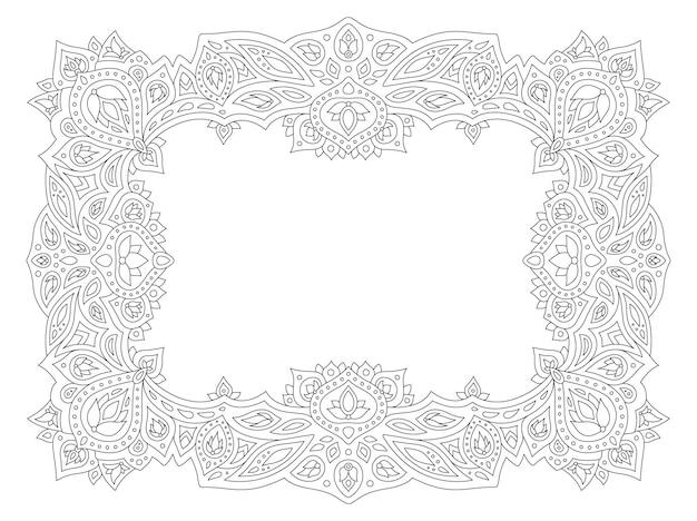 Belle illustration vectorielle linéaire monochrome pour la page de livre de coloriage pour adultes avec cadre d'élégance abstraite isolé sur fond blanc
