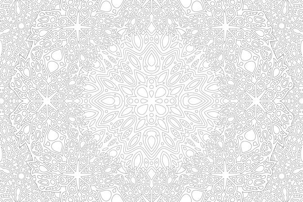 Belle illustration vectorielle linéaire monochrome pour la page de livre de coloriage pour adultes avec un motif oriental abstrait détaillé