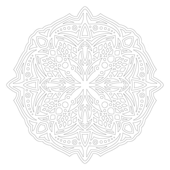 Belle illustration vectorielle linéaire monochrome pour la page de livre de coloriage pour adultes avec un motif unique rond abstrait isolé sur fond blanc