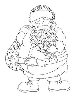 Belle illustration vectorielle linéaire pour le livre de coloriage de noël avec le père noël de dessin animé isolé sur fond blanc