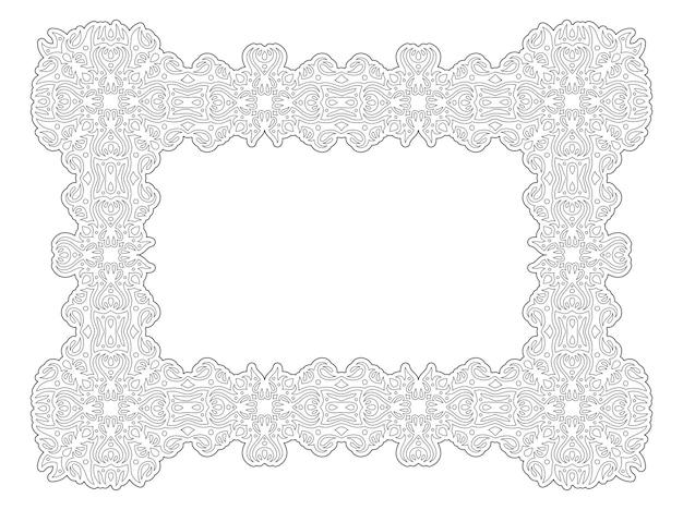 Belle illustration vectorielle monochrome pour la page de livre de coloriage pour adultes avec cadre tribal rectangle abstrait isolé sur fond blanc