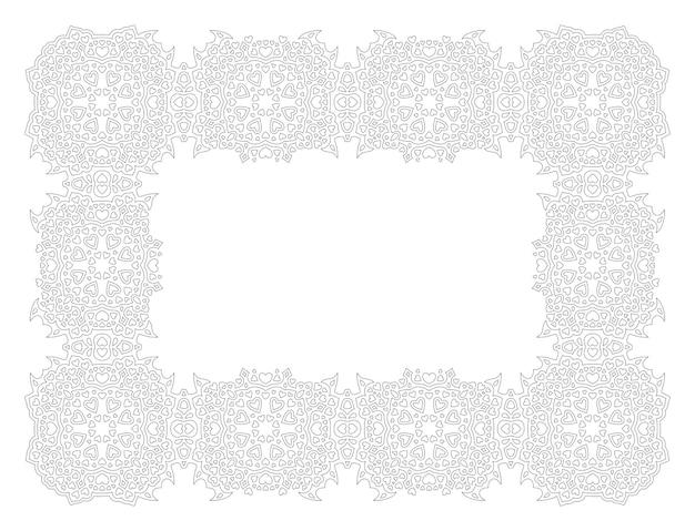 Belle illustration vectorielle monochrome pour la page de livre de coloriage de saint valentin avec cadre vintage détaillé rectangle isolé sur fond blanc