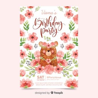 Belle invitation d'anniversaire avec des fleurs