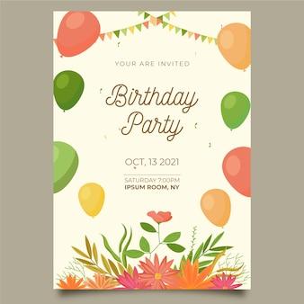 Belle invitation d'anniversaire floral
