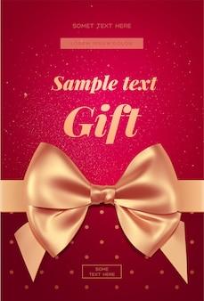 Belle invitation ou carte de voeux avec noeud doré. carte de la saint-valentin.
