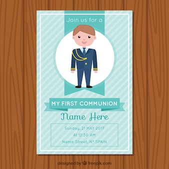 Belle invitation de communion avec l'enfant