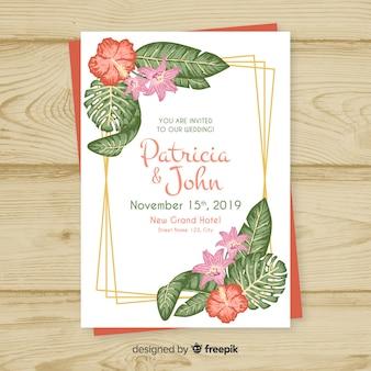 Belle invitation de mariage floral avec des lignes dorées