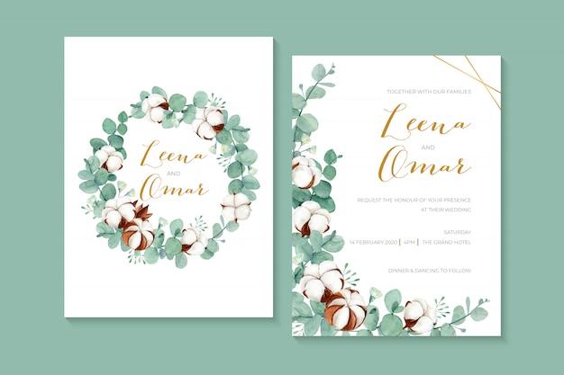 Belle invitation de mariage aquarelle avec des fleurs en coton et des feuilles d'eucalyptus