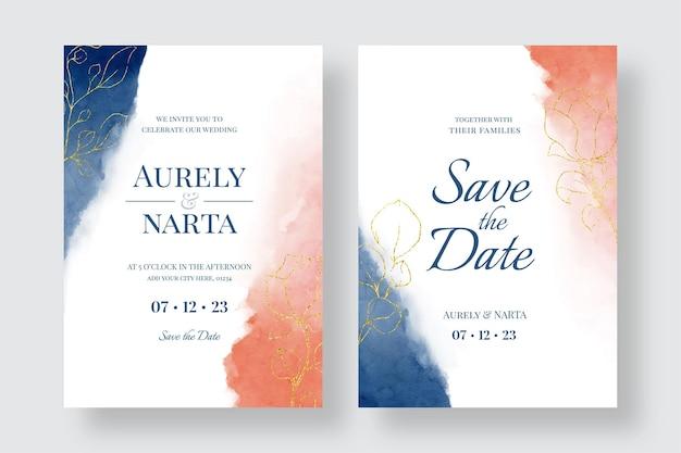 Belle invitation de mariage aquarelle avec des fleurs dorées