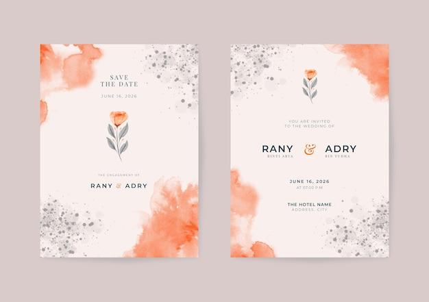 Belle invitation de mariage avec aquarelle de fleurs