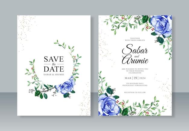 Belle invitation de mariage avec aquarelle de peinture de fleur rose