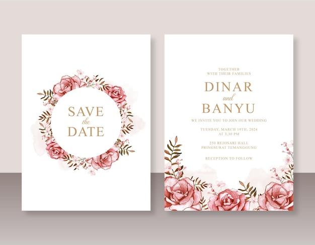 Belle invitation de mariage avec aquarelle rose rouge