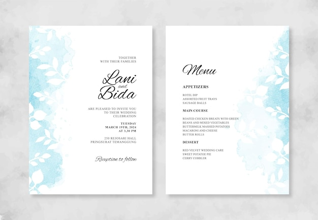 Belle invitation de mariage avec aquarelle splash