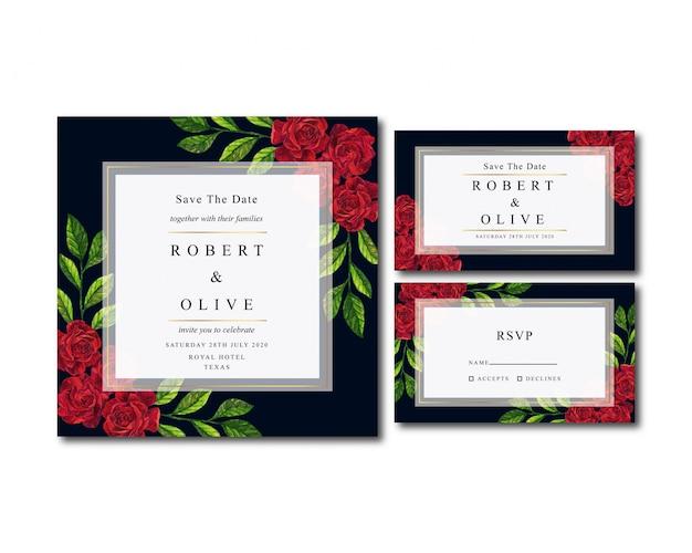 Belle invitation de mariage aquarelle vintage rose rouge