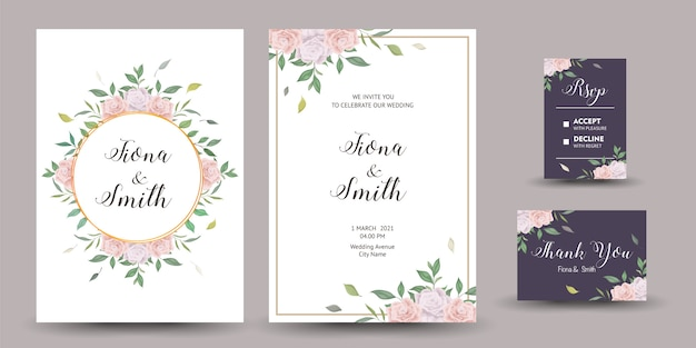 Belle invitation de mariage ou carte de voeux avec un design floral.