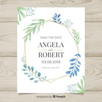 Belle invitation de mariage avec des feuilles d'aquarelle