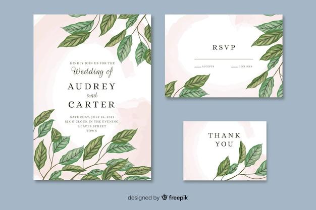Belle invitation de mariage avec des feuilles dessinées à la main