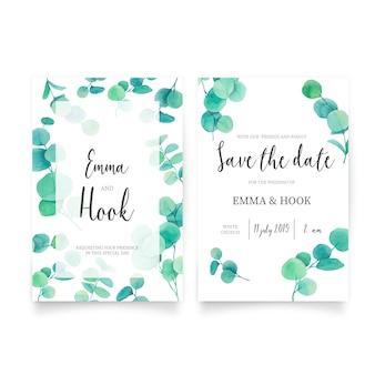 Belle invitation de mariage avec des feuilles d'eucalyptus